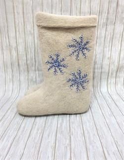 """Валенки с вышивкой """"Снежинка"""" ручной работы - фото 13575"""
