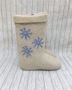 """Валенки с вышивкой """"Снежинка"""" ручной работы - фото 13576"""