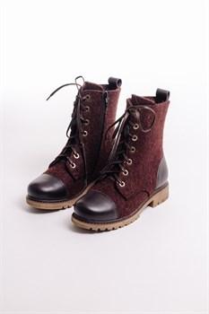 Войлочные ботинки женские с отделкой из натуральной кожи коричневые - фото 13818