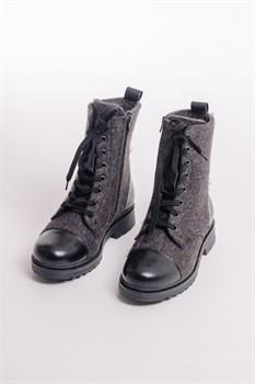 Войлочные ботинки женские с отделкой из натуральной кожи серые - фото 13822