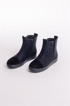 """Войлочные ботинки с отделкой натуральной замшей """"Мия"""" черные - фото 13842"""