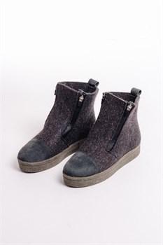 """Войлочные ботинки """"Мира"""" с отделкой из натуральной замши серые - фото 13854"""