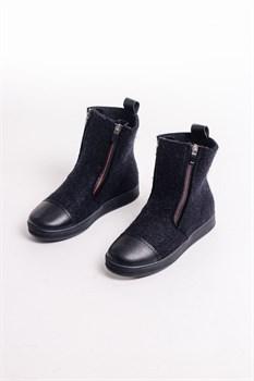 Войлочные ботинки с отделкой натуральной замши черный - фото 13871