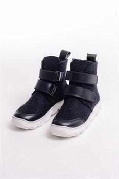 Детские войлочные сапоги на липучках черные - фото 13961