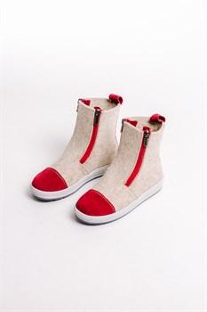 Детские войлочные ботинки бежевые с красным - фото 13979
