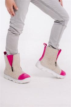 Детские войлочные ботинки бежевые с розовым - фото 13984