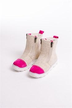 Детские войлочные ботинки бежевые с розовым - фото 13986