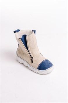 Детские войлочные ботинки бежевые с синим - фото 13994