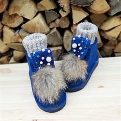 Валеши войлочные на подошве синие с декором, гетрами и мехом - фото 14014