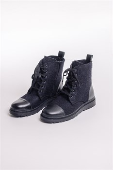 Мужские войлочные ботинки высокие черные с отделкой натуральной кожей - фото 14050