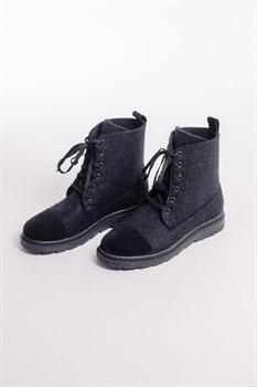 Мужские войлочные ботинки высокие черные с отделкой натуральной замшей - фото 14052