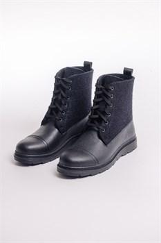 Мужские войлочные ботинки высокие черные. Натуральная кожа - фото 14055