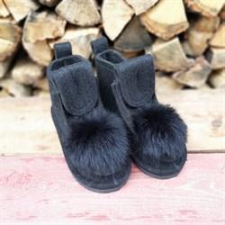 Валенки шитые войлочные на подошве черные с меховой опушкой - фото 14072