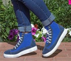 Войлочные кеды высокие, синие - фото 14092
