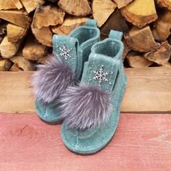 Валеши войлочные на подошве мятные со снежинкой и меховой опушкой чернобурка - фото 14118