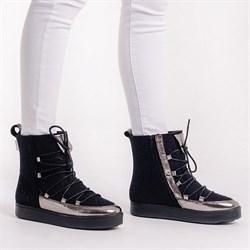 """Войлочные сапоги черные с отделкой из натуральной кожи """"Ева"""" - фото 14277"""