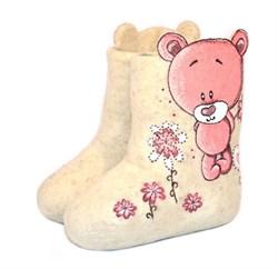 """Валенки с росписью """"Розовый мишка"""" ручной работы - фото 14318"""