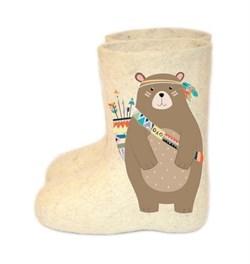 """Валенки с росписью """"Медведь""""  ручной работы - фото 14337"""