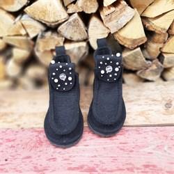 Валеши войлочные на подошве черные с декором - sale - фото 15061