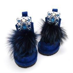 Валеши войлочные синие на подошве с декором и мехом - фото 15250