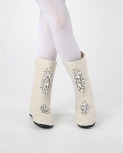 """Валенки женские на подошве в комплекте с варежками, со стразами """"Сьюзи"""" ручной работы - фото 15293"""