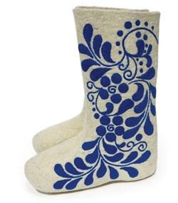 """Валенки женские с росписью """"Синее кружево"""" ручной работы - фото 15725"""