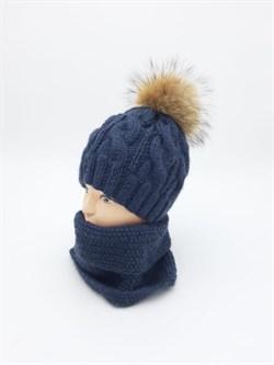 Вязаный комплект шапка с меховым помпоном + снуд, синий - фото 15839