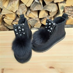 Валенки шитые войлочные на подошве черные с декором и меховой опушкой - фото 15883