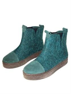 """Войлочные ботинки с отделкой натуральной замшей """"Мия"""" изумрудные - фото 15943"""