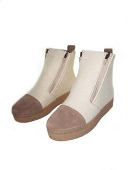 """Войлочные ботинки """"Вида"""" с отделкой из натуральной замши бежевый - фото 15944"""