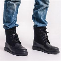 Мужские войлочные ботинки высокие черные. Натуральная кожа - фото 15946