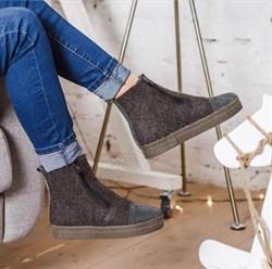 """Войлочные ботинки """"Вида-1"""" с отделкой из натуральной замши, коричневый - фото 15947"""
