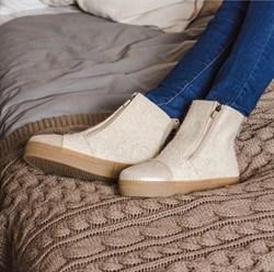 """Войлочные ботинки """"Вида"""" с отделкой из натуральной замши бежевый - фото 15948"""