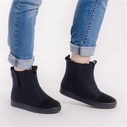 """Войлочные ботинки с отделкой натуральной замшей """"Мия"""" черные - фото 15952"""