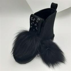 Валенки шитые высокие войлочные черные на подошве с декором и мехом - фото 15990