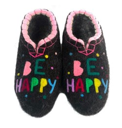 """Женские валяные тапочки """"Be happy"""" ручной работы - фото 16057"""