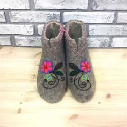 """Женские валяные чуни """"Розовый цветок"""" ручной работы - фото 16214"""