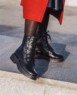 Кожаные берцы женские черные - фото 16284
