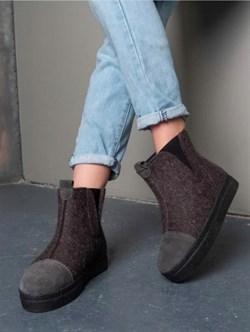 """Войлочные ботинки с отделкой натуральной замшей """"Мия"""" - фото 16503"""