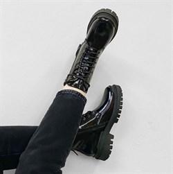 Женские ботинки-берцы натуральная лакированная кожа - фото 16561