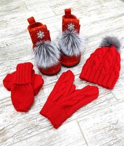 Валенки шитые в комплекте, красный - фото 16782