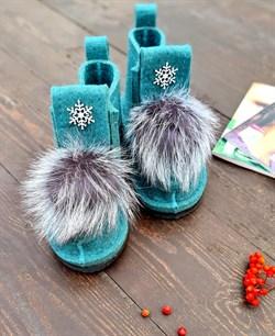 Валенки шитые на подошве мятные со снежинкой и меховой опушкой чернобурка - фото 16927