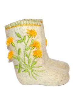 """Валенки женские с вышивкой """"Цветок Солнца"""" ручной работы - фото 4299"""