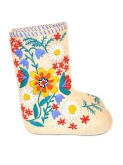 Дизайнерские валенки женские с вышивкой  Луговые цветы