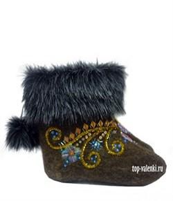 """Валенки женские укороченные с мехом и вышивкой """"Дана"""" - фото 6765"""