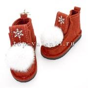 Валенки шитые войлочные на подошве красные со снежинкой и меховой опушкой