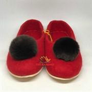 """Цветные валяные тапочки красные """"Асмина"""" на подошве, мех кролик коричневый"""