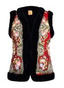 Женский жилет в русском стиле покрытый платком, красный - sale