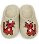 """Детские валяные тапочки ручной работы """"Рыжий кот"""" ручной работы"""