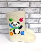 """Валенки детские с вышивкой """"Веселая панда"""" ручной работы"""